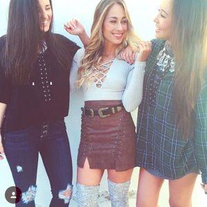 LF suede brown skirt